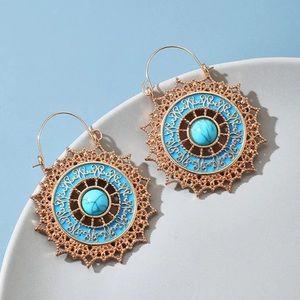 Vintage Mandala Flower Blue Dangling Earrings